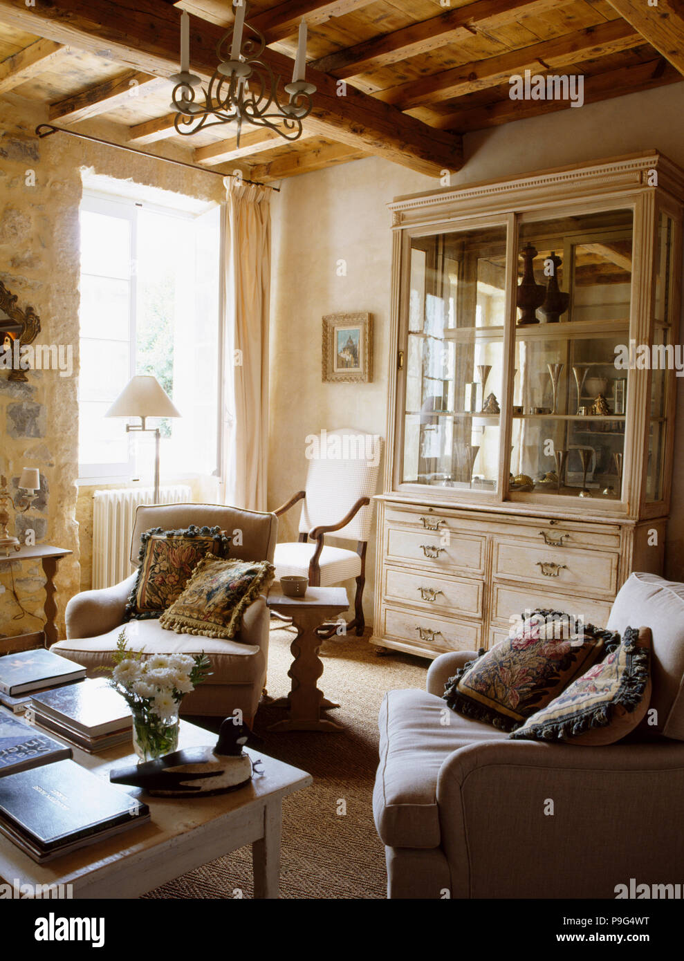 Comfortable Armchairs In French Country Living Room With