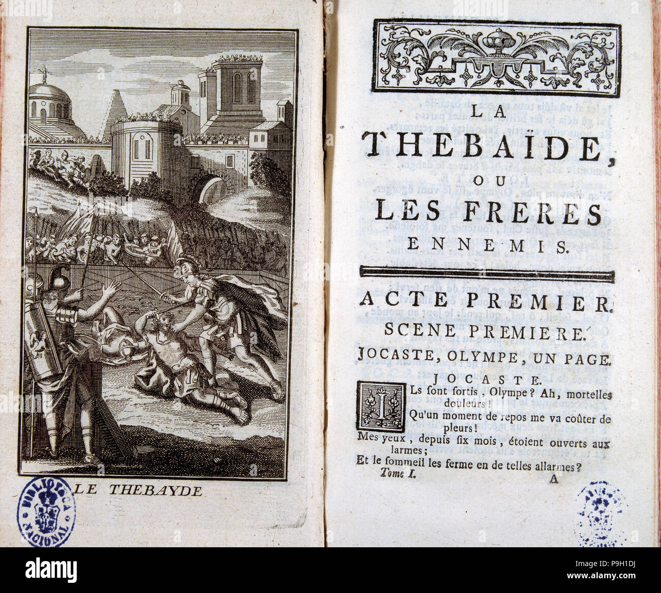 https www alamy com cover of thebaid by jean racine with an illustration of 1744 image212430670 html