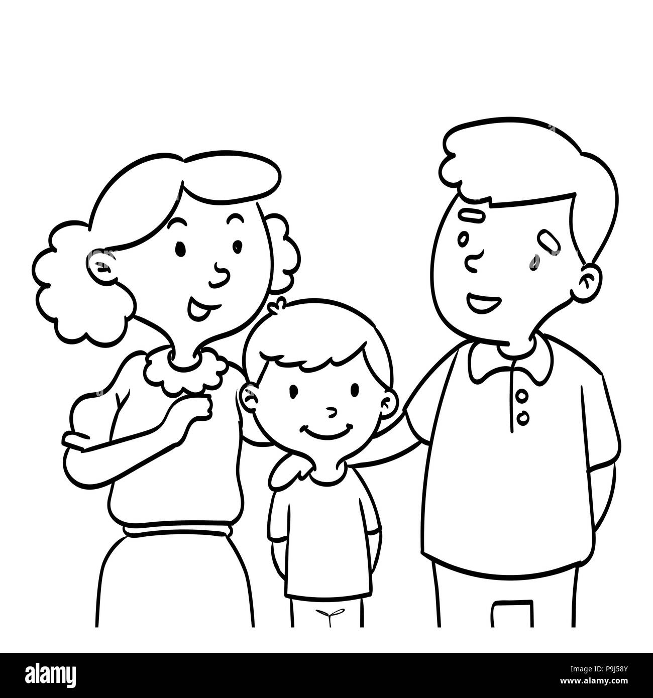 Hand Drawn Of Happy Family Coloring Book Educational For