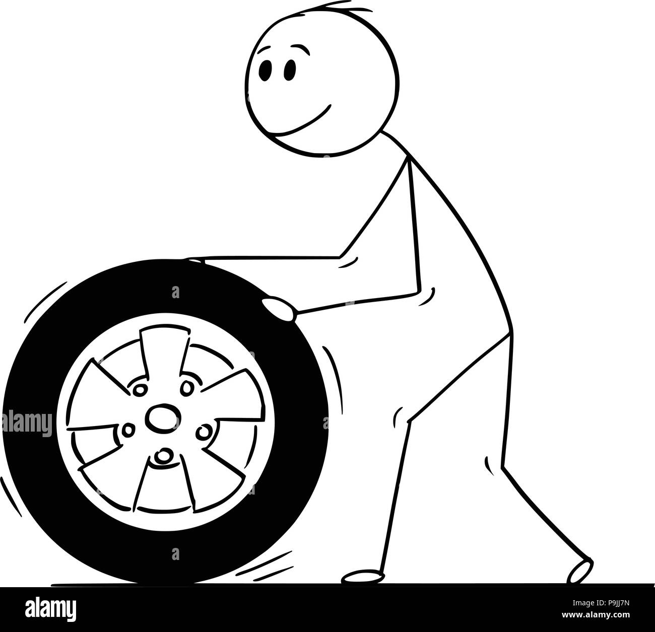 Cartoon Of Man Rolling Car Wheel And Tyre Stock Vector Art Amp Illustration Vector Image