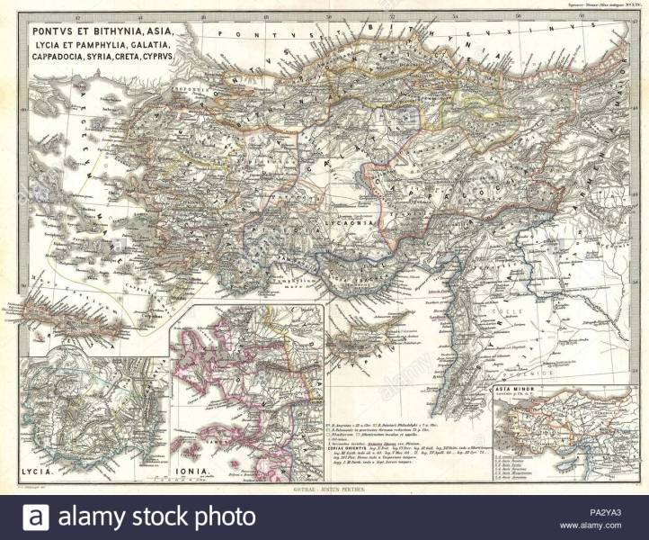1865  Spruner Map of Asia Minor  Turkey in Antiquity Stock Photo     1865  Spruner Map of Asia Minor  Turkey in Antiquity