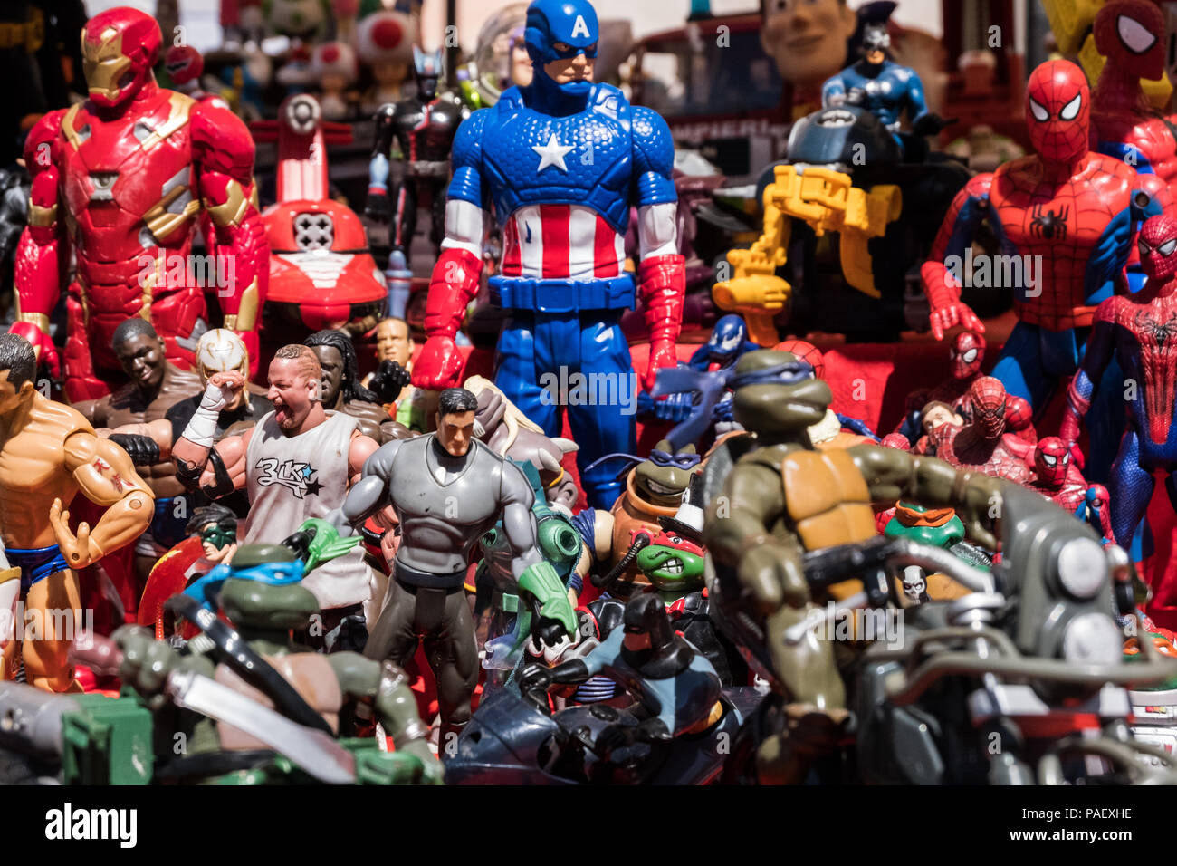Background Of Film And Cartoon Superheroes Action Figures Toys Stock Photo Alamy