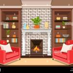 Room With Fireplace Flat Interior Colorful Drawing Vector