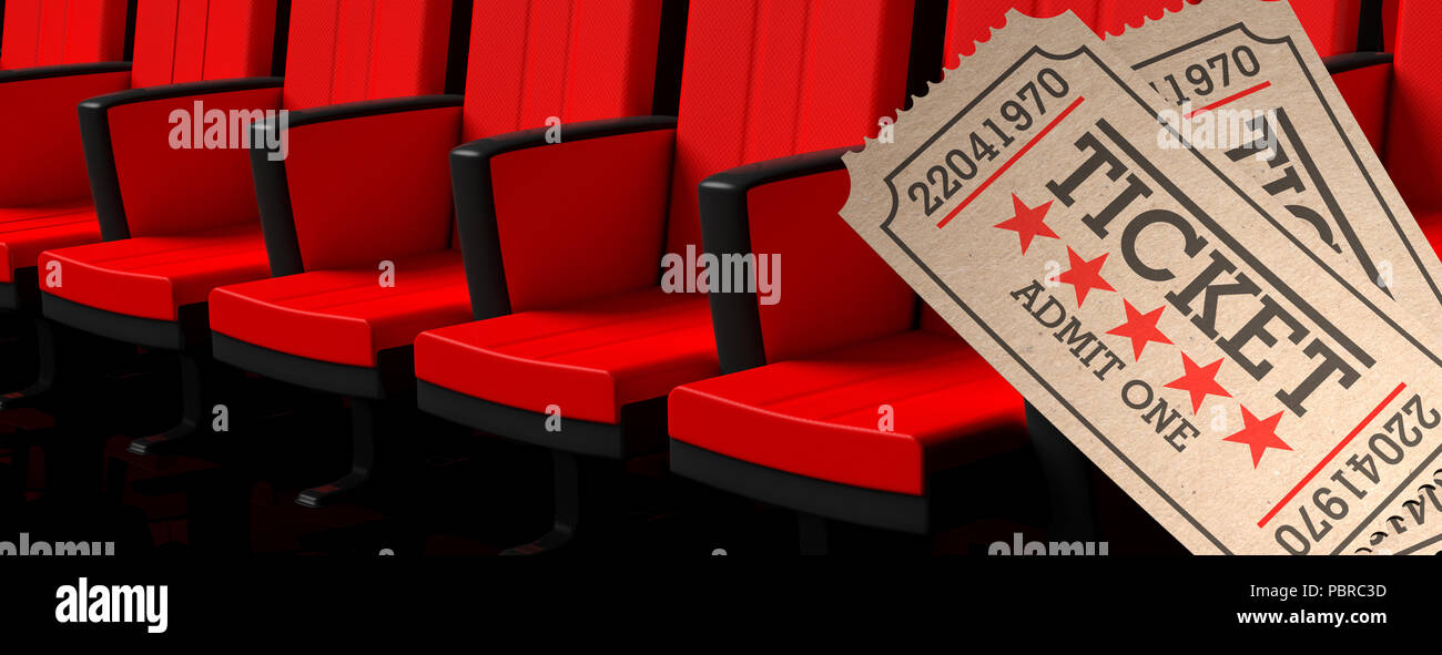 Movie Theater Concept Cinema Old Type Tickets Beige And Red Movie Theater Seats Background Banner 3d Illustration Stock Photo Alamy