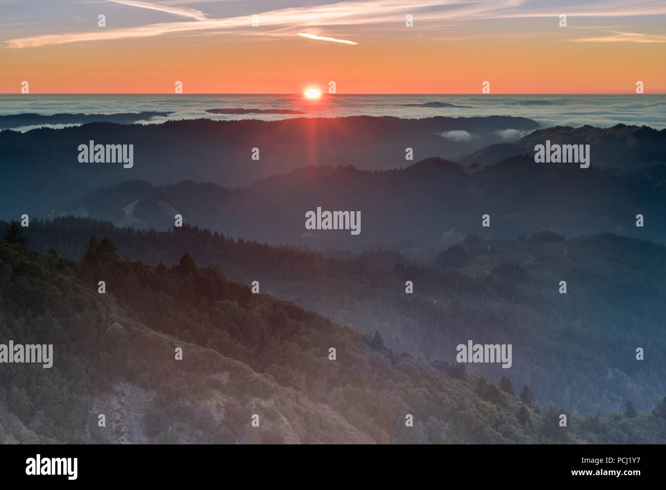 Mount tam is one of my favorite bay area photo spots for obvious reasons. Sunset Views Of Marin County Hills From Mount Tamalpais East Peak Stock Photo Alamy