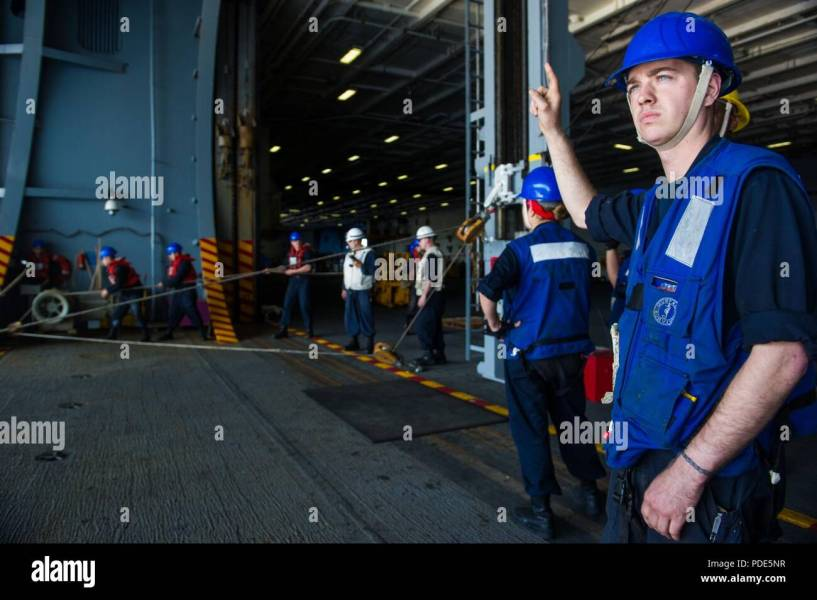 WATERS SOUTH OF JAPAN  May 15  2018  Boatswain s Mate 2nd Class     WATERS SOUTH OF JAPAN  May 15  2018  Boatswain s Mate 2nd Class Blake Pierce   from Round Rock  Texas  signals for Sailors to heave a line in the hangar  bay