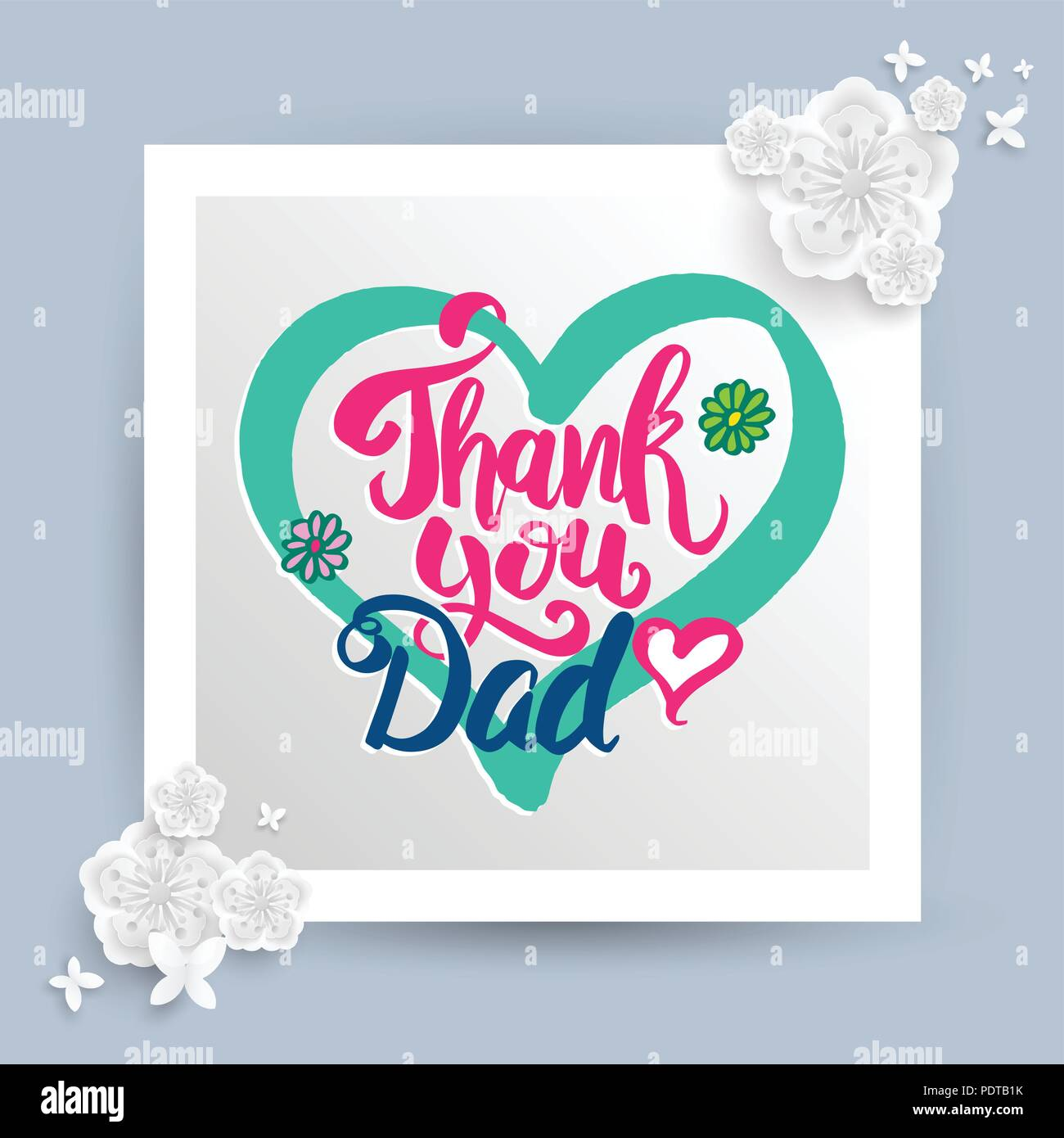 Thank You Dad Lettering For Father S Day Card Vector
