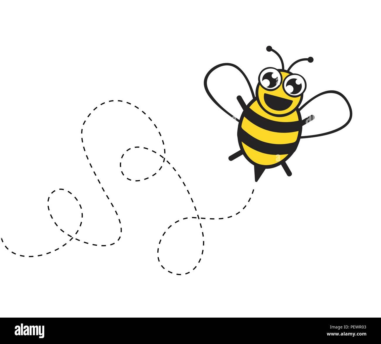 Stylized Happy Little Bee Vector Illustration Eps10 Stock