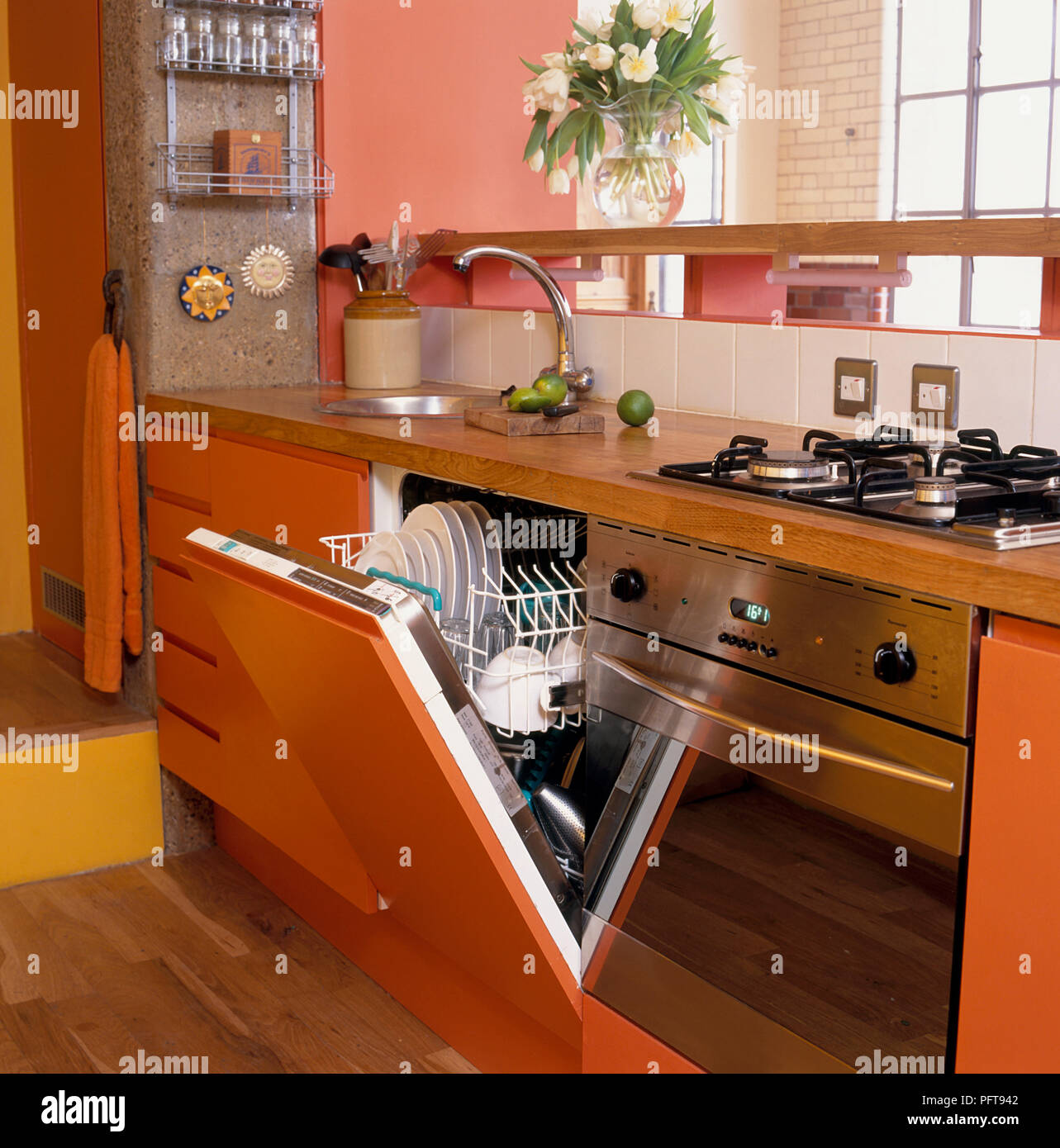 https www alamy com dishwasher in fitted kitchen unit with sink oven and drawers image216278274 html