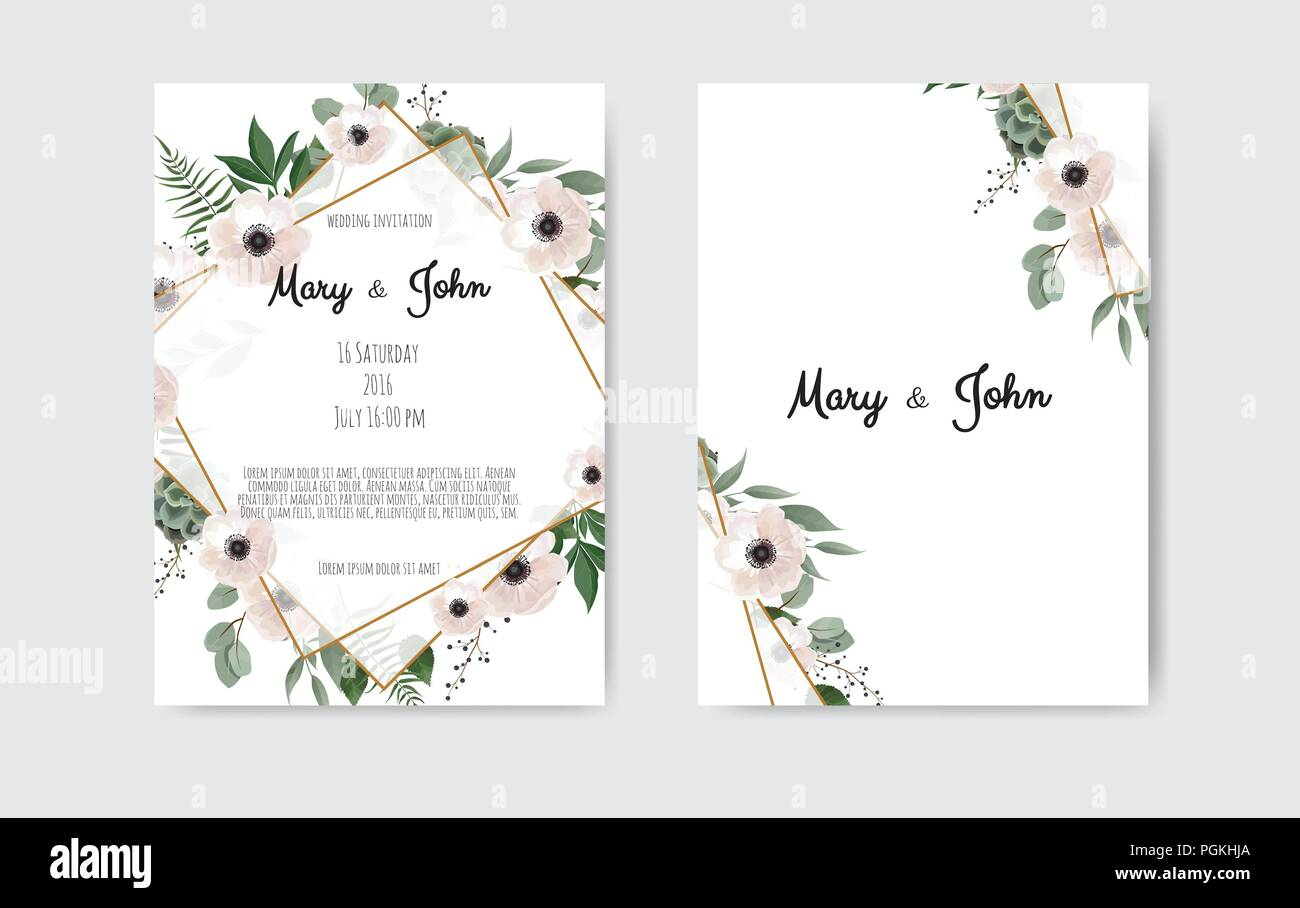 https www alamy com botanical wedding invitation card template design white and pink flowers on white and black background image216789842 html