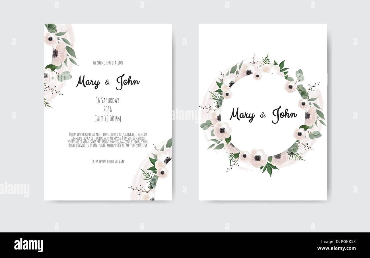 https www alamy com wedding invite invitation botanical wedding invitation card template design white and pink flowers vector template set image216791039 html