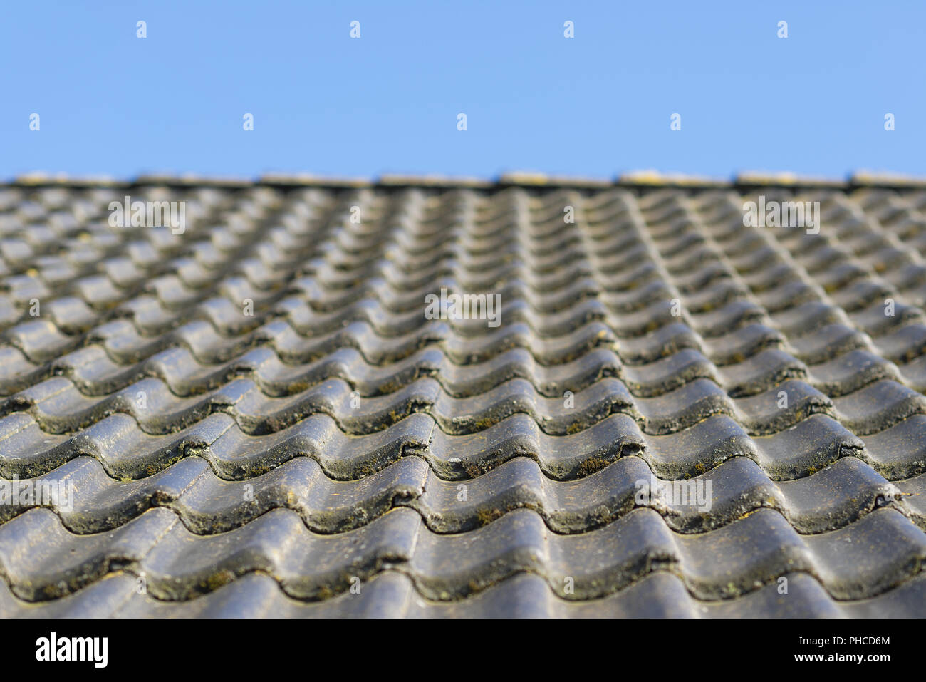 https www alamy com roof with concrete roof tiles image217247372 html