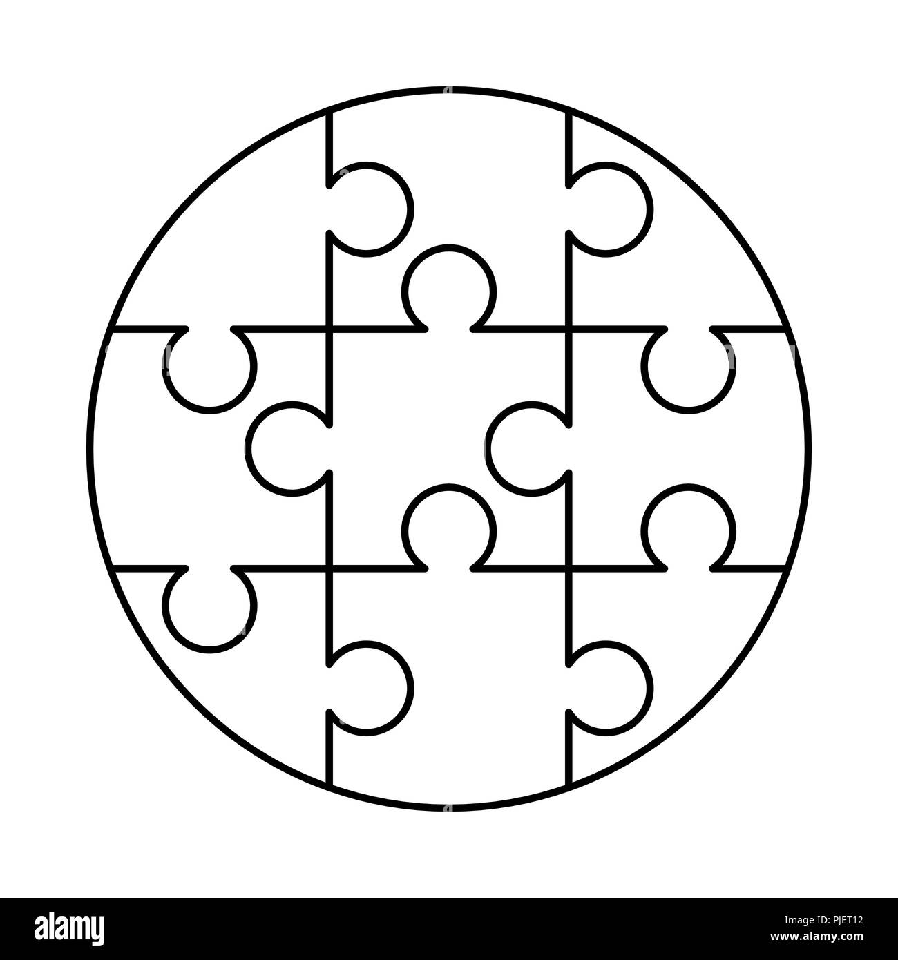 9 White Puzzles Pieces Arranged In A Round Shape Jigsaw Puzzle Template Ready For Print