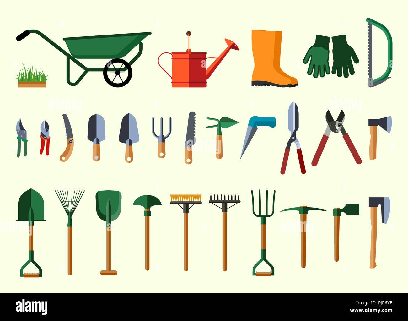 Garden Tools Flat Design Illustration Of Items For