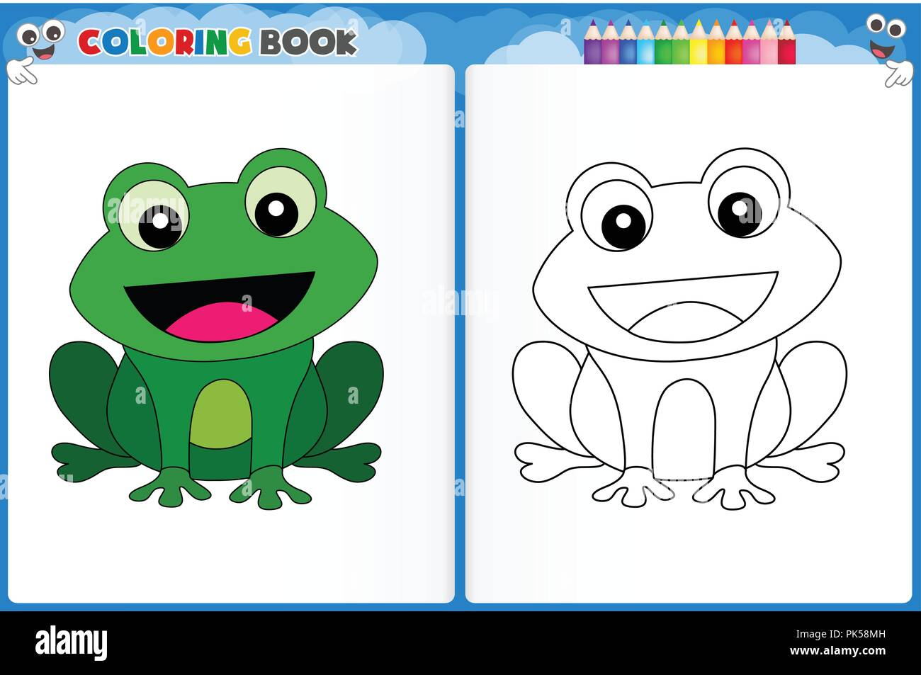 Coloring Page Cute Frog With Colorful Sample Printable