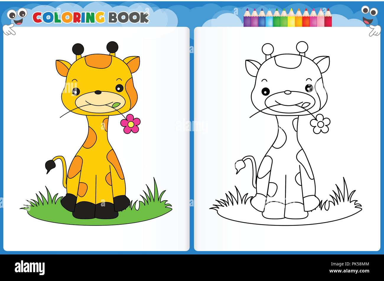 Coloring Page Cute Giraffe With Colorful Sample Printable