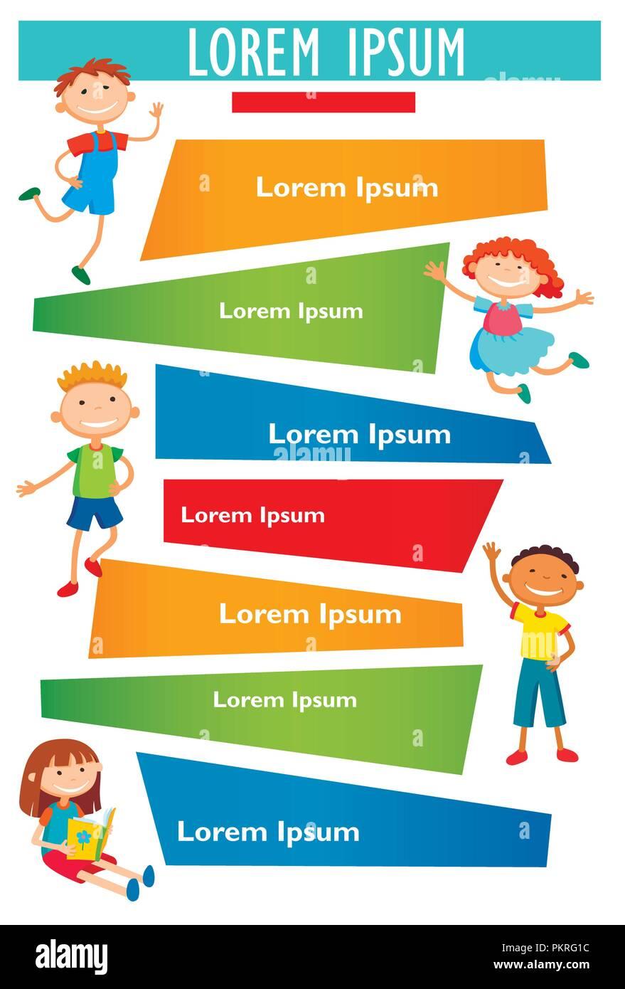 Vector Brochure Backgrounds With Cartoon Children Infographic Template Design Stock Vector Art