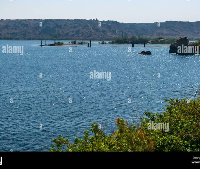 View From Philae Temple To Old Location In Lake Nasser Flooded Under Water Due To Aswan Low Dam River Nile Aswan Egypt Africa