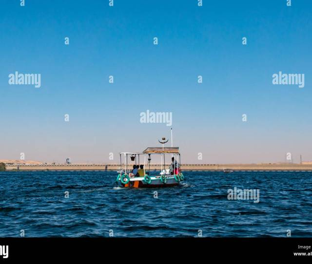 Tourist Boat On River Nile Above Aswan Low Dam On Lake Nasser Returning From Philae Temple