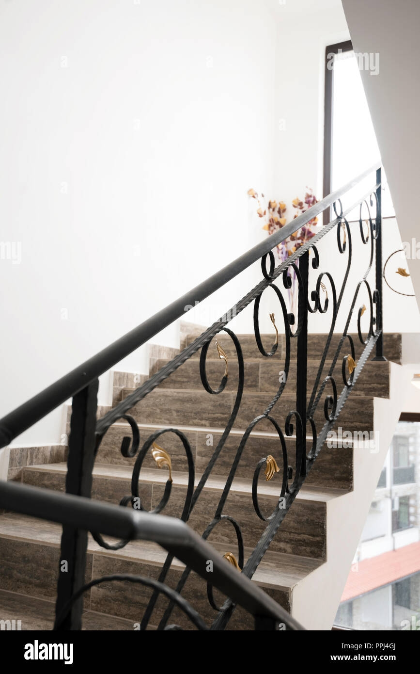 Interior Of A Luxurious French Mansion And Golden Stair Railing A   Wrought Iron Stair Railing   Diy   Staircase   Simple   Silver   Horizontal