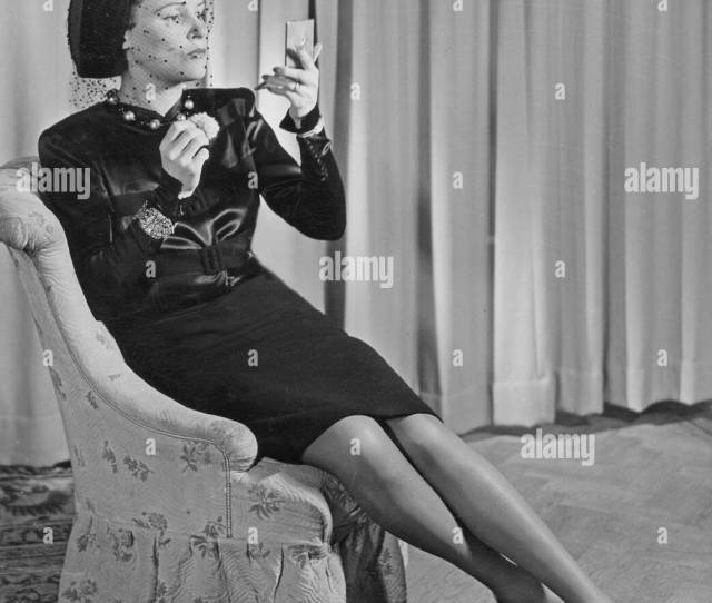 Swedish Actress Margit Rosengren   Pictured Sitting In An Armchair Wearing A