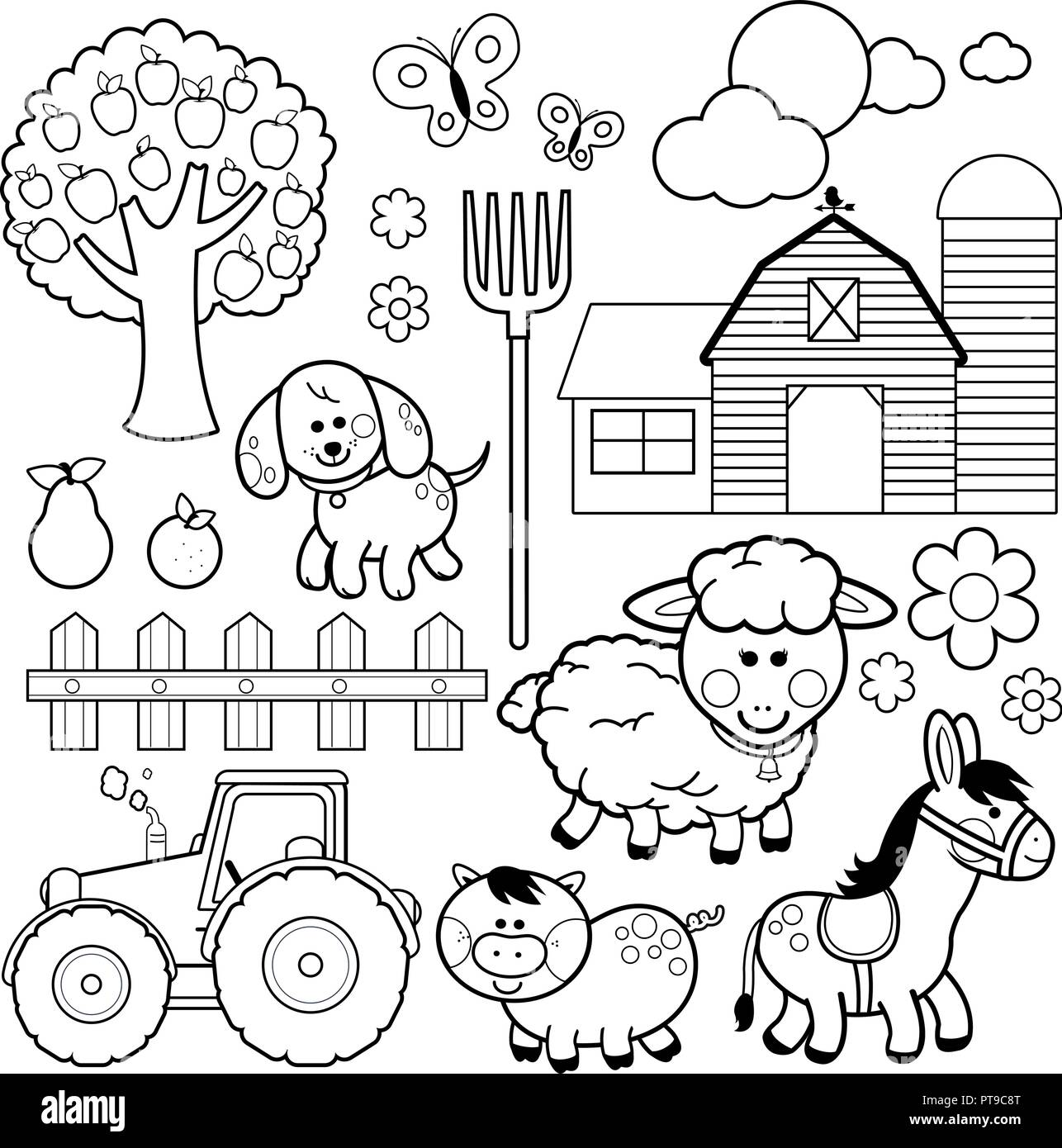 Farm Animals Vector Illustration Collection Black And