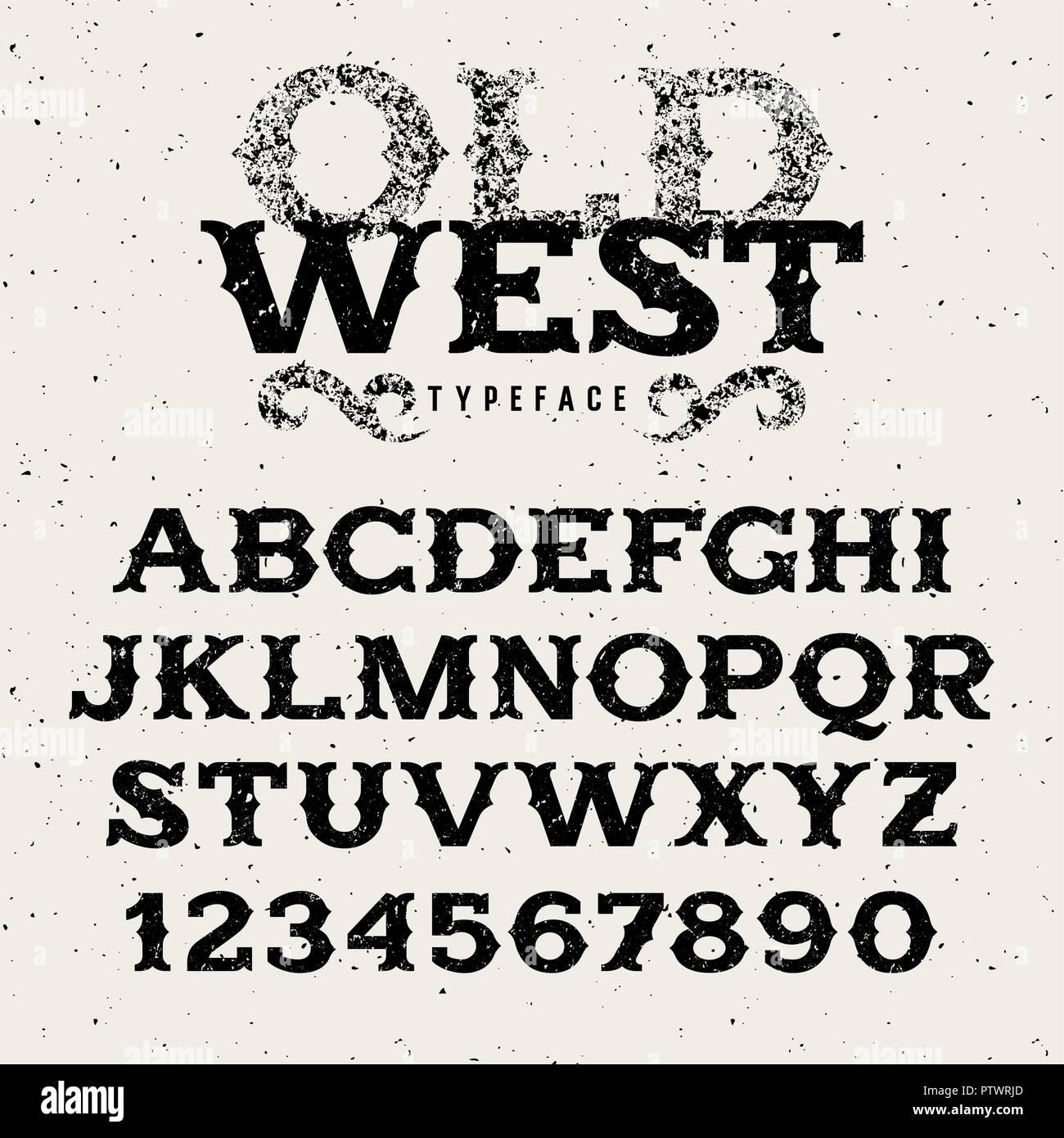 Vintage Western Alphabet Retro Font In Wild West Style