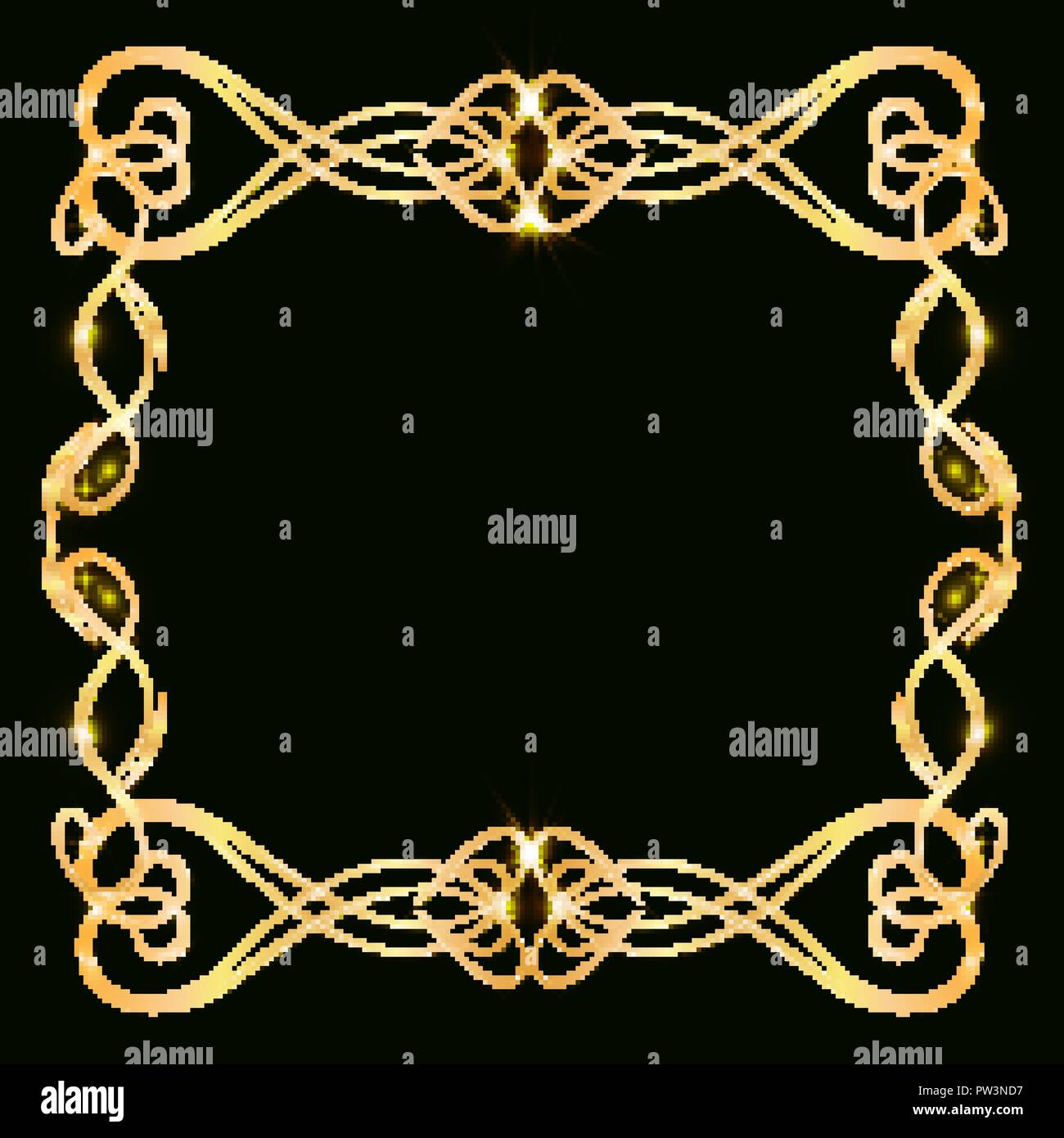 https www alamy com decorative gold frame with gold elements on a dark background for invitation cards wedding card decor blank for the cover design image221973507 html