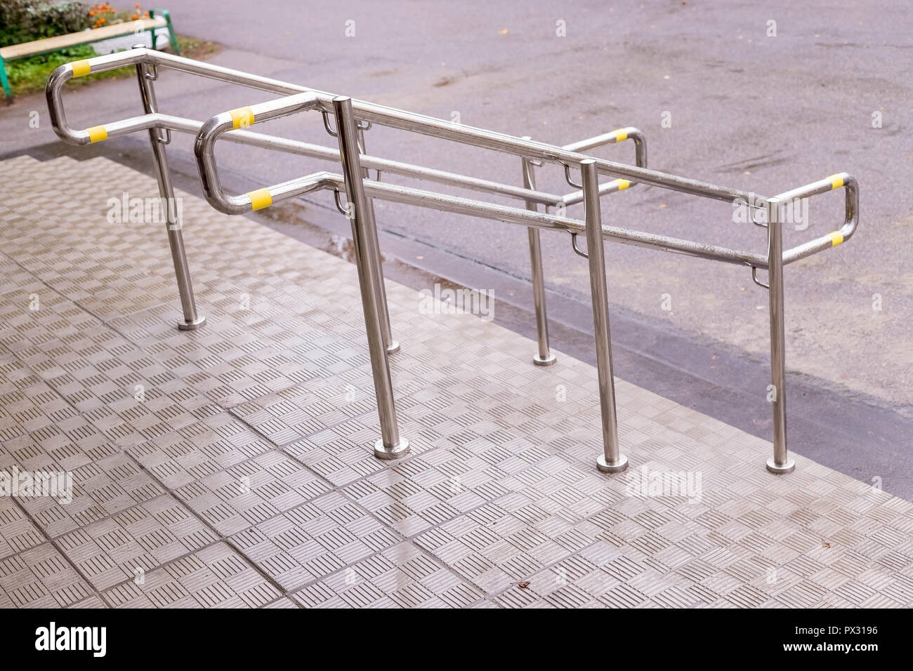 Stainless Steel Handrails Are Installed On The Walls And Steps | Outside Steps For Seniors | Dreamstime | Stair Treads | Handrail | Stainless Steel | Walkway