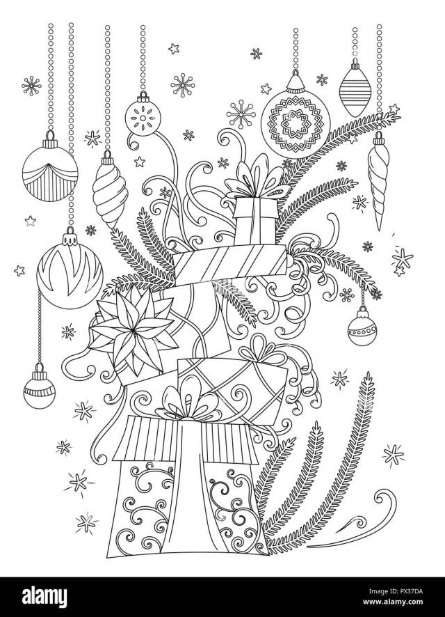 Christmas coloring Pages. Coloring Book for adults. Pile of