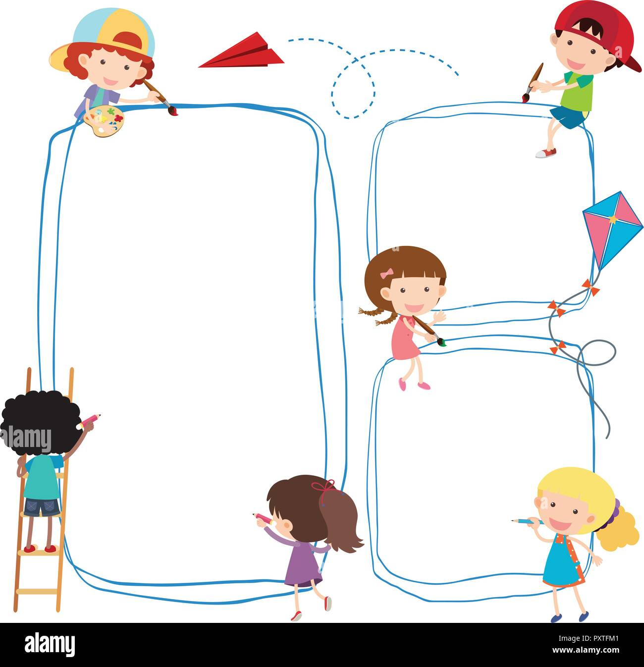 Border Template With Kids Drawing Line Illustration Stock