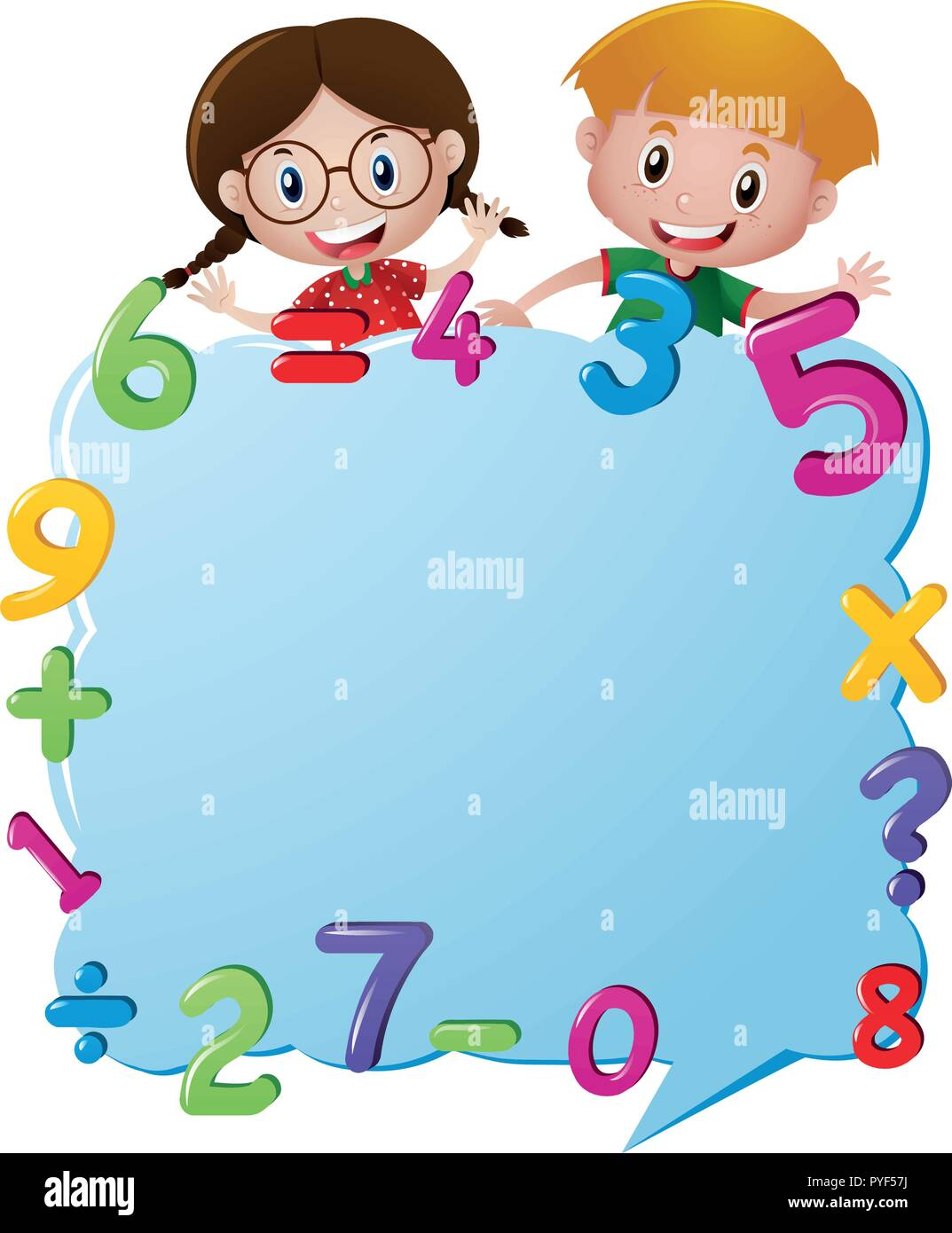 Border Template With Kids And Numbers Illustration Stock