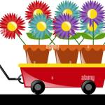 Colorful Flowers On Red Wagon Illustration Stock Vector Image Art Alamy