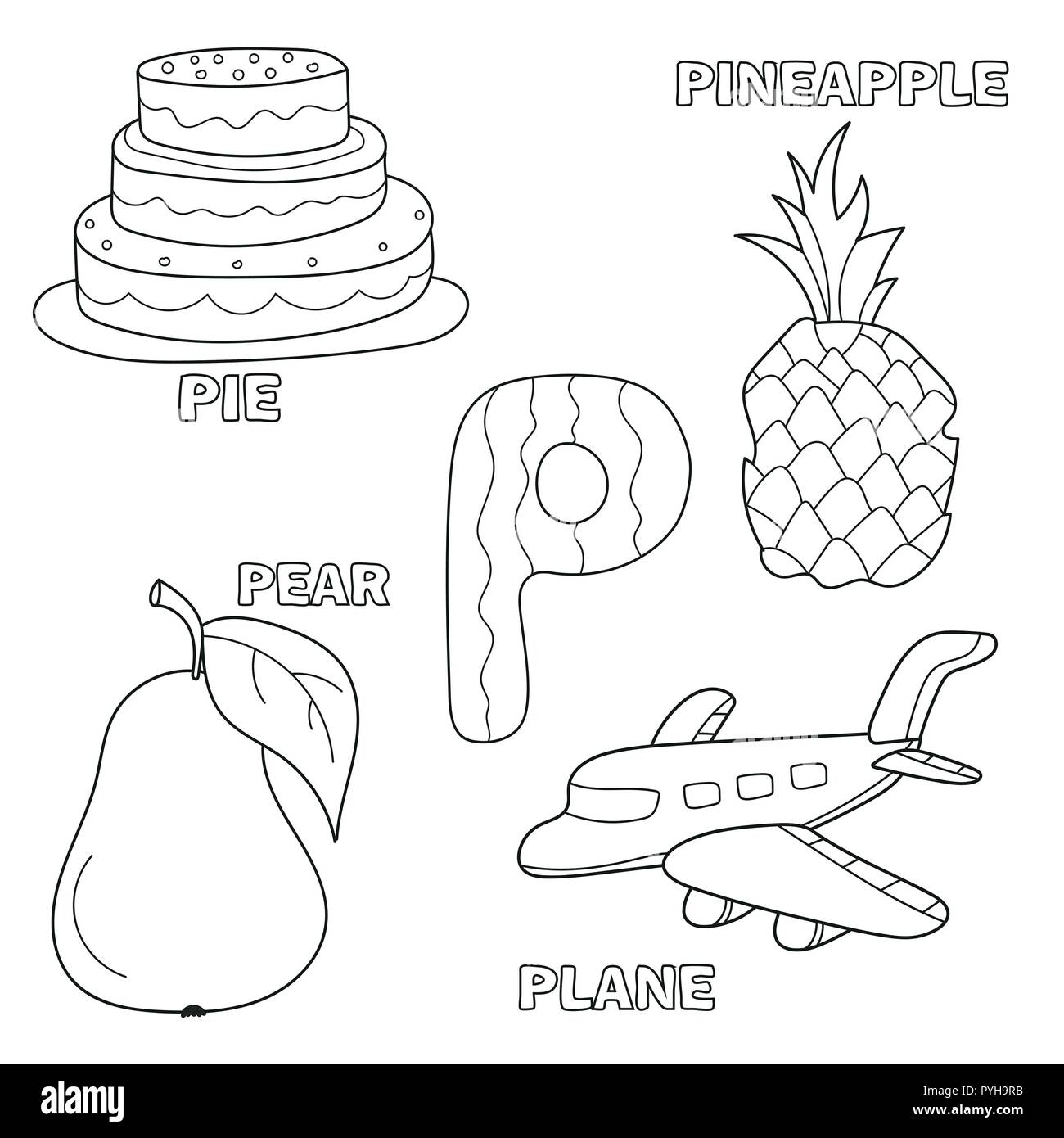 Easy To Color Letter P Coloring Pages
