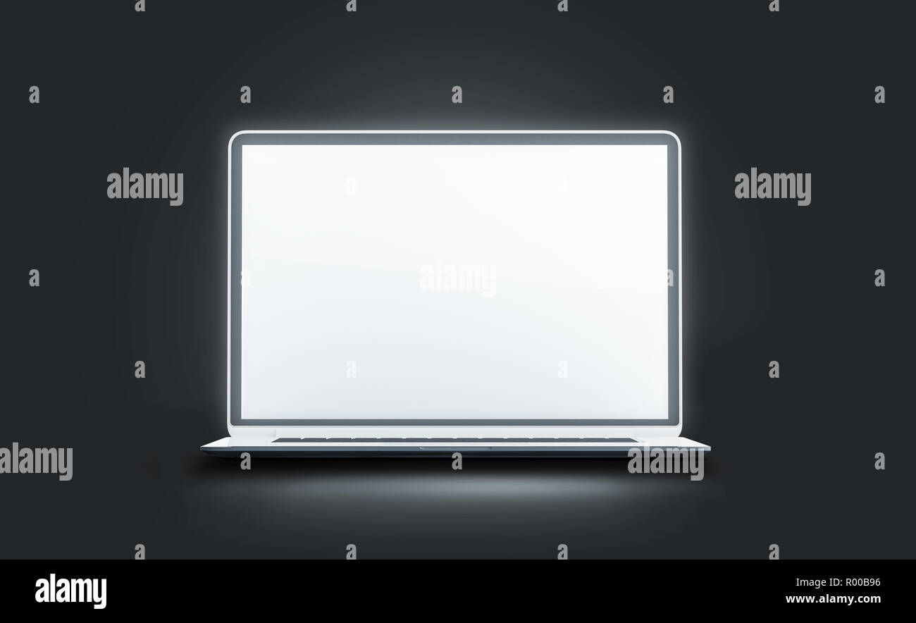 Blank White Luminous Laptop Screen Mockup Isolated In Darkness 3d