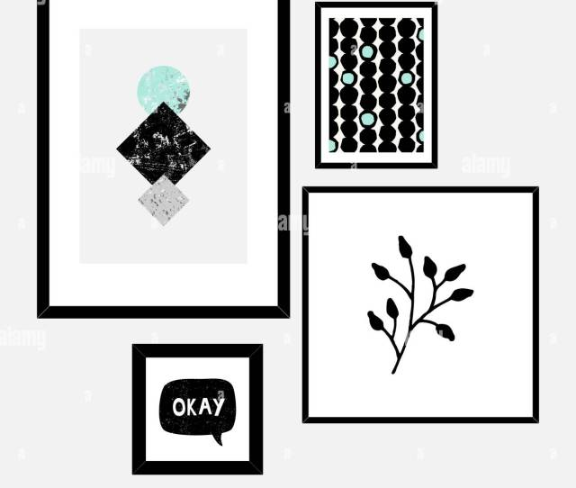 A Set Of Four Framed Art Prints In Black Gray Aqua Blue And White Arranged In A Beautiful And Stylish Composition Abstract Art Posters Printable G