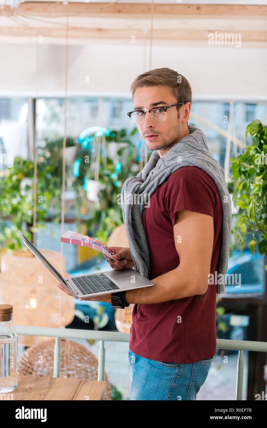 Modern Famous Interior Designer Choosing Suitable Colors For New Project Stock Photo Alamy