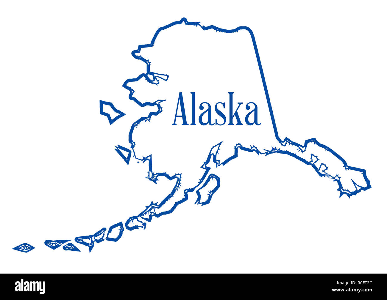 Outline Map Of The State Of Alaska Isolated Stock Photo Alamy