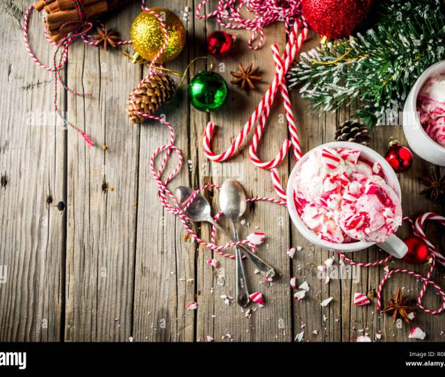 Christmas Dessert Homemade Peppermint Candy Cane Ice Cream In Two Cups Old Wooden Background With Xmas Decorations Copy Space