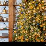 Classic Christmas New Year Decorated Interior Room New Year Tree Christmas Tree With Gold Decorations Modern White Classical Style Interior Design A Stock Photo Alamy