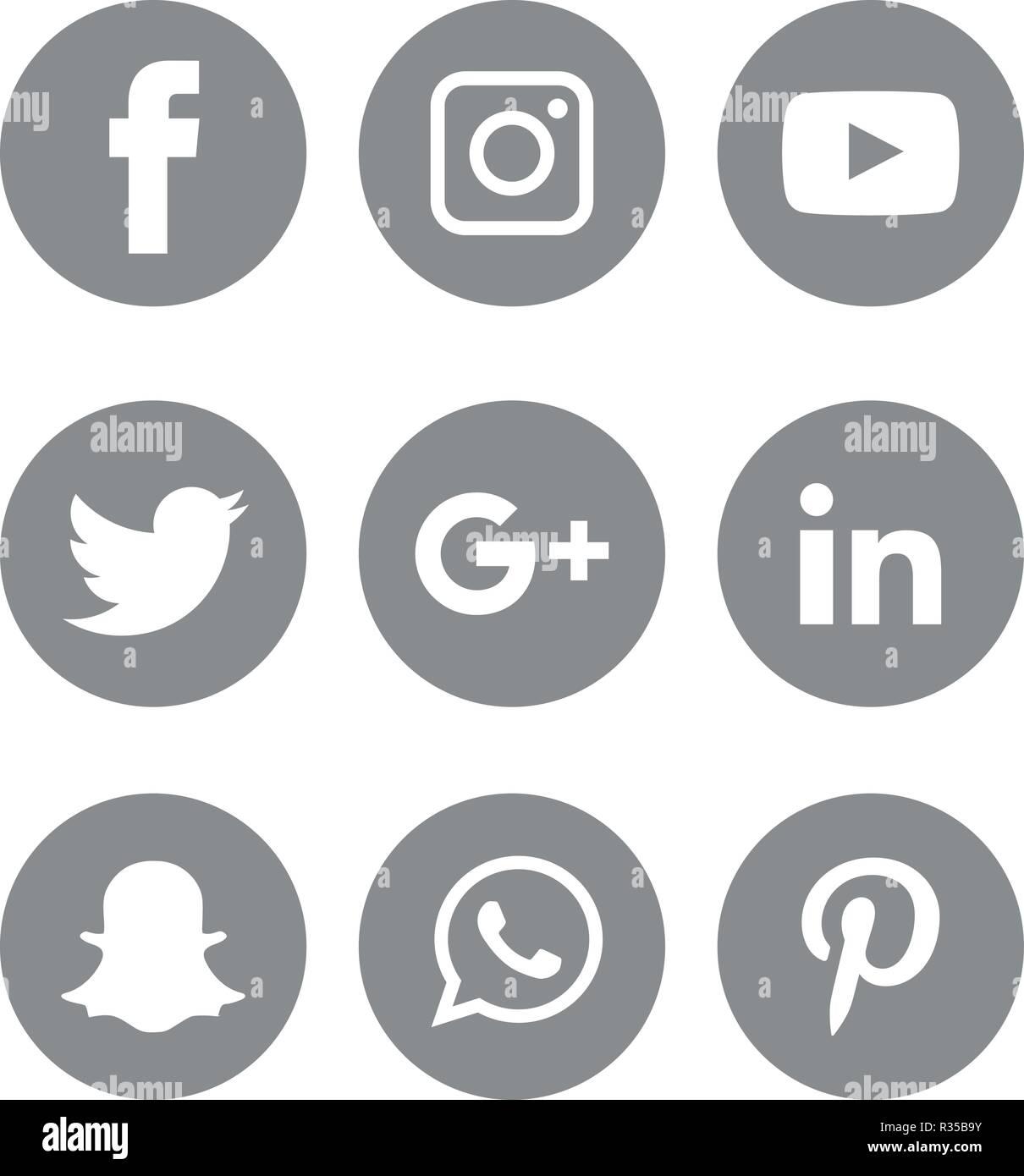 Social Media Icons Set Logo Vector Illustrator Facebook Instagram Twitter Whatsapp Communication Google Plus Device Youtube Smart Phone Net Stock Vector Image Art Alamy