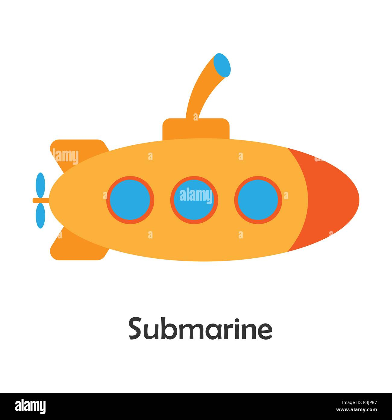 Submarine In Cartoon Style Card With Transport For Kid