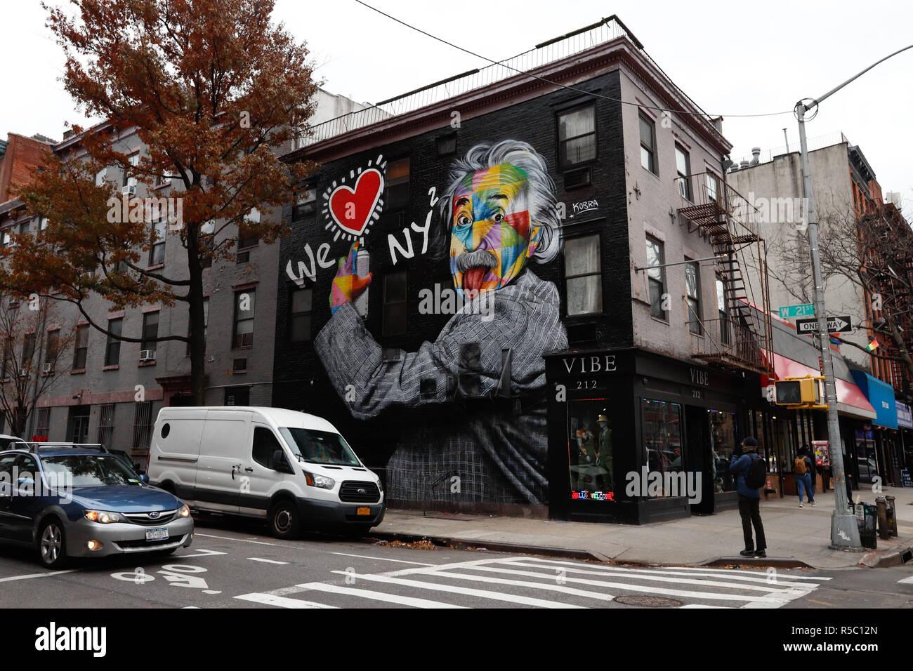 Wallach division of art, prints and photographs: Mural Of We Love New York With Albert Einstein S Portrait Is Seen In Manhattan New York Artwork By Brazilian Muralist Eduardo Kobra Photo Vanessa C Stock Photo Alamy