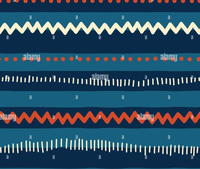 Red And Blue Tribal Doodle Pattern Seamless Vector Background Abstract Horizontal Lines Zigzag Dots Stripes Texture For Childrens Market Boy