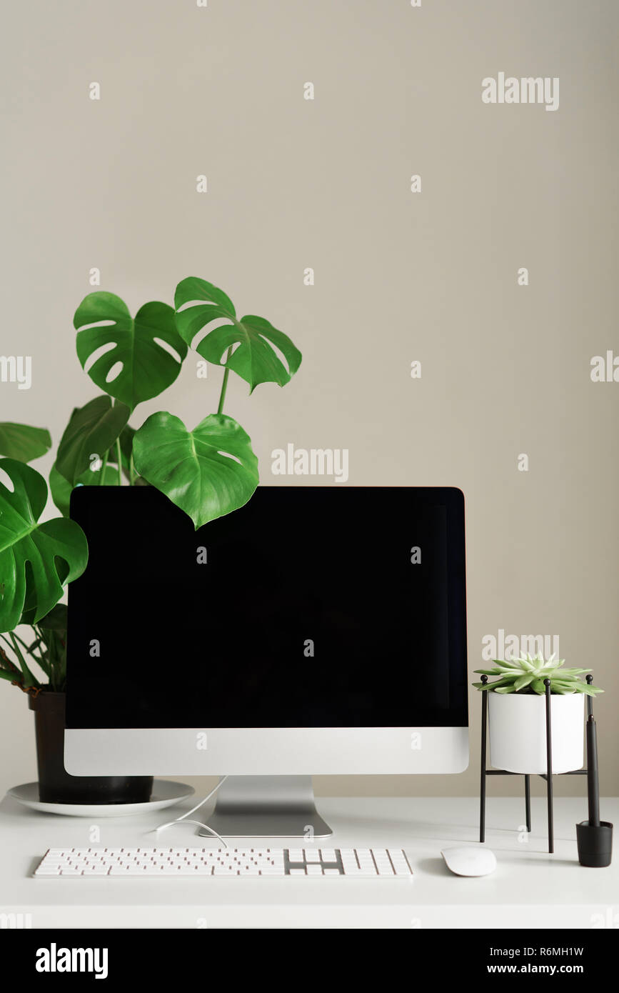 Designer Workspace Minimalistic Home Office Blank Screen Desktop
