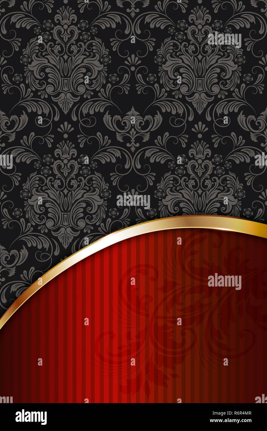 https www alamy com decorative background with vintage patterns and golden border vintage invitation card design image227931335 html