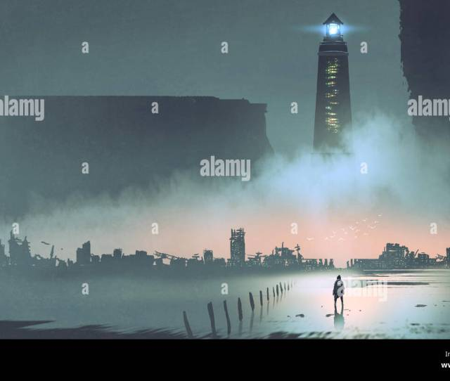 Night Scenery Of The Big Lighthouse In Futuristic World Digital Art Style Illustration Painting