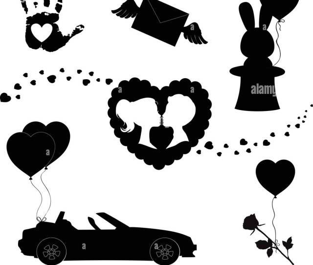 Happy Valentines Day Black Icons Silhouette Set Isolated On White Background Love Holiday Valentine Or Marriage Collection Elements For Greeting Car