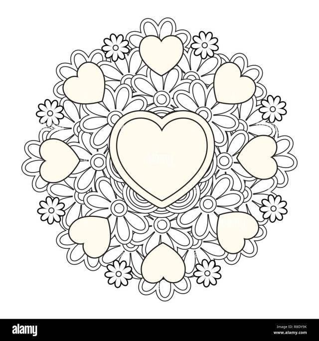 Flower mandala with hearts. Valentines day coloring page Stock