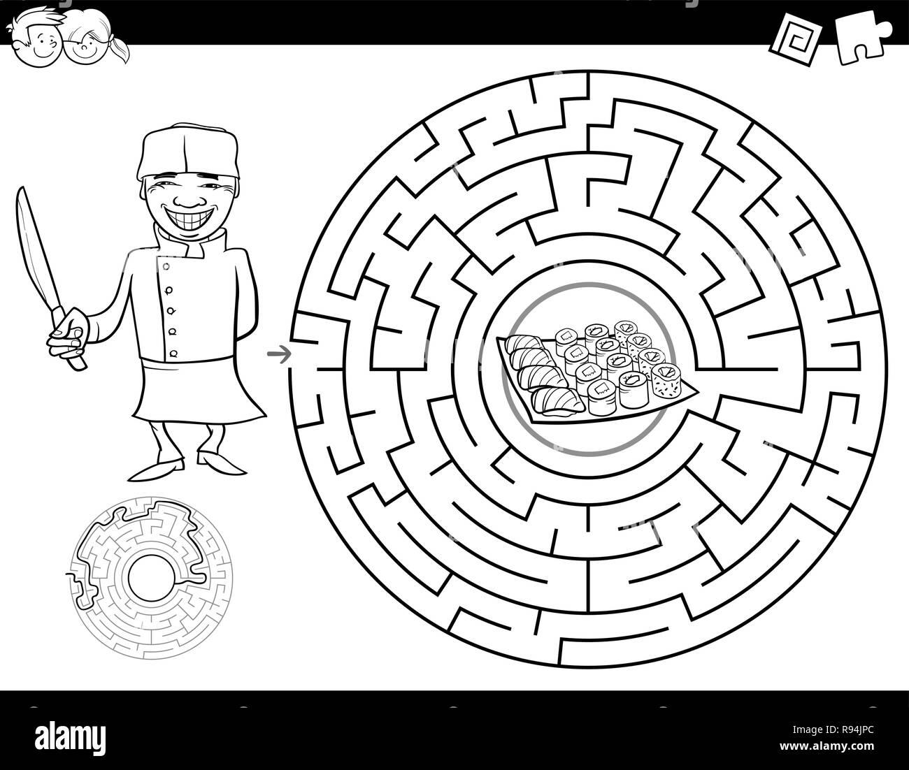 Black And White Cartoon Illustration Of Education Maze Or